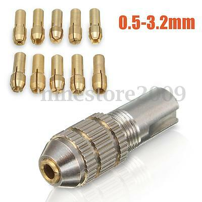 11 Pcs 0.5-3.2mm Small Electric Drill Bit Collet Mini Twist Drill Tool Chuck Set