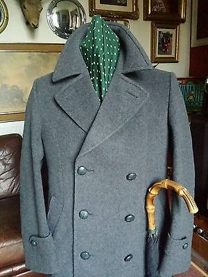 Beautiful Vtg Hammersley Wool Cashmere Double Breasted Pea Coat.Dandy Mod.Medium