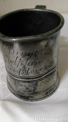 antique pewter half pint tankard