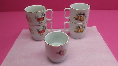 """5 Royal Geoffrey Fine China  Coffee Cups Fruit Pattern Stackable 3 1/4"""" Tall"""