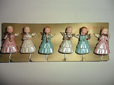 6 Vintage Plastic Angels with musical instruments