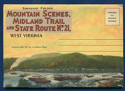 West Virginia Mountain Scenes Midland Trail Route 21 postcard folder
