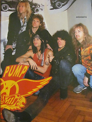 Aerosmith, Vince Neil, Motley Crue, Double Full Page Vintage Pinup