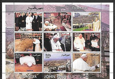 Somalia 2000 His Holiness Pope John Paul II MNH S/S of 9 Stamps