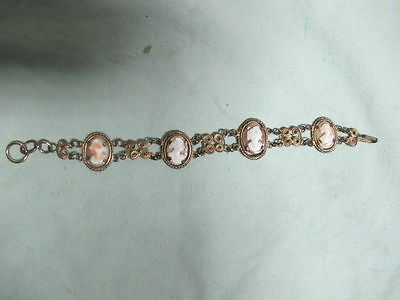 Antique Victorian Gold Colored  Bracelet with  4 Carved Cameo