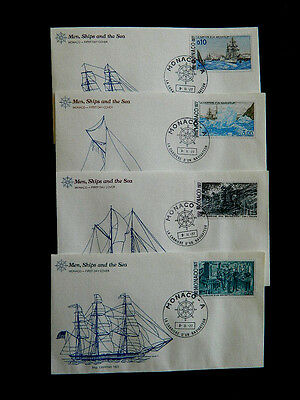 1977 monaco FDC carriere navigateur men ship sea september fist day issue set