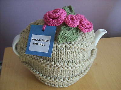 Biscuit Beige Hand Knit Tea Cosy with Pink Roses + Green Leaf Trims NEW