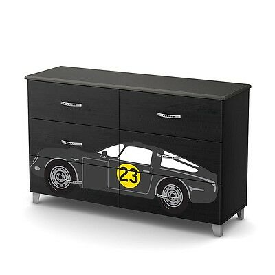 South Shore Luka Black Onyx and Charcoal 6-Drawer Double Dresser with Car Decals