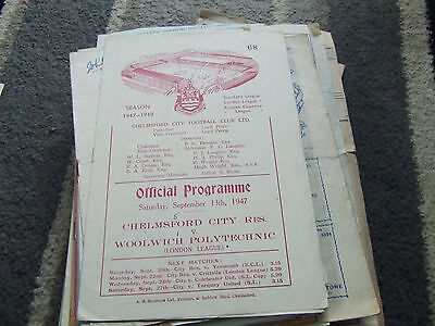 Chelmsford City Reserves V Woolwich Polytechnic 1947-8 London League