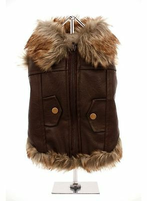 Dog Aviator Flying Jacket / Brown Fur Trim Shearling Jacket Winter Coat Size M