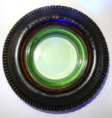 Vintage Cooper Armored Cord Tire Ashtray VASELINE GLASS ASHTRAY extremely nice