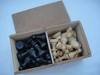 Set of Vintage Wooden Chess Pieces in Original Box
