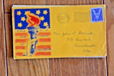 Ww2 World War 2 Patriotic Cachet Cover Hold High The Torch Of Civilization