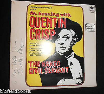 RARE SIGNED 'An Evening with Quentin Crisp' The Naked Civil Servant LP, Gay Icon