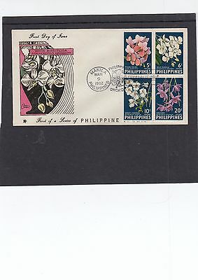 Philippines 1962 Orchids perf First Day Cover FDC Manila fdi slogan perf