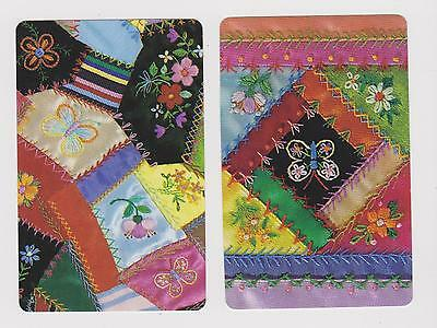 Crazy Patchwork X 2  Only Single Vintage Playing/swapcard. Embroidery Too  .