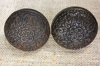2 Door knobs old square shaft rustic cast iron vintage 1800's antique flowers