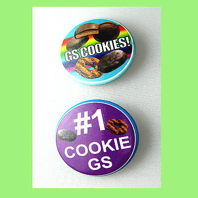 2 Cookie Buttons Pin Girl Scouts Collectors Samoas Mints NEW Multi=1 Ship Chrg
