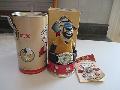 Vintage Fossil Popeye And Friends Brutus Statue Watch Mib #4906/15K Works!