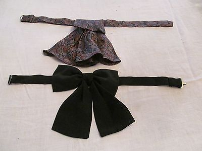 Lot of 2 Women's Silk Bow Ties Maroon Paisley Black Solid