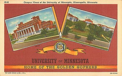 c1930s University of Minnesota Home Of The Golden Gophers Curt Teich Postcard
