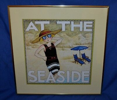 """Mary Engelbreit picture print """" At the Seaside"""" framed art"""