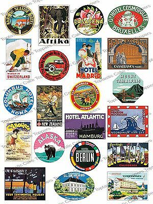 21 Vintage Travel Suitcase Sticker Stamp Label Edible Icing Cupcake Cake Toppers