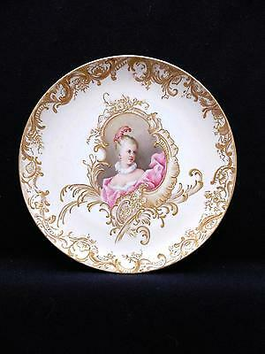 Gorgeous Handpainted Portrait Plate French Woman Signed C. Turner & Dated 1897