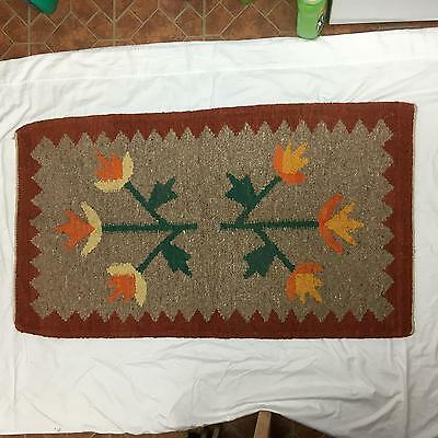 Vintage / Antique Woven Mat or Rug American Indian? Stylized Flowers FOLK ART #A