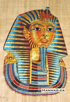Egyptian Papyrus Painting Poster + King Tutankhamen + 16X24 Inches + Handmade #3