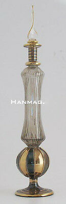"11"" Egyptian Glass Perfume Bottle + 24K Gold #F771 BLK One of a Kind Handcrafted"