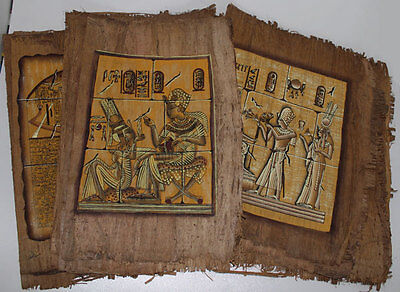 "Lot of 6 Dark Egyptian Papyrus Paintings 8X12"" Assorted Scenes + Hand Painted"