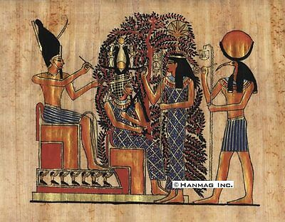 "Egyptian Papyrus Painting - Thot & the tree of pens 8X12"" + Hand Painted #76"