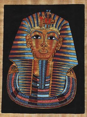 "Egyptian Papyrus Painting - King Tut's mask 8X12"" + Hand Painted #2"