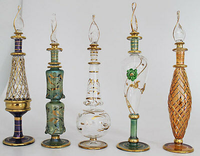 "Set of Five 9"" Egyptian Perfume Bottles + 24K Gold Plated + Mouth Blown"