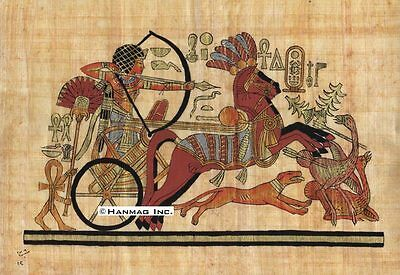 "Egyptian Papyrus Painting - King Tut hunting Ostriches 8X12"" + Hand Painted #34"