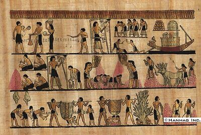 """Egyptian Papyrus Painting - Harvest scene 8X12"""" + Hand Painted #85"""
