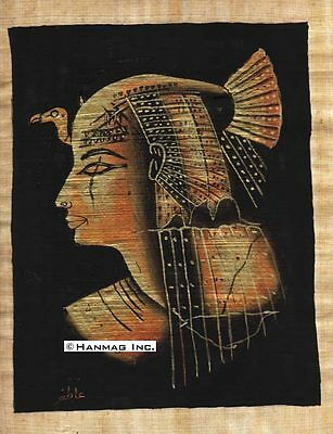 "Egyptian Papyrus Painting - Queen Nefertari 8X12"" + Hand Painted #24"