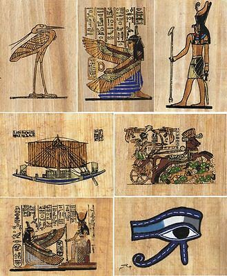 "25 Egyptian Papyrus Paintings 3X4"" + Assorted Scenes + Hand Painted"