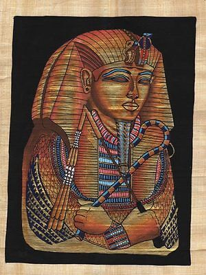 "Egyptian Papyrus Painting - King Tut's mask 8X12"" + Hand Painted #7"