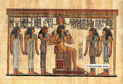 "Egyptian Papyrus Painting - Osiris and Goddesses 8X12"" + Hand Painted #61"