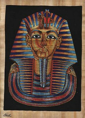 "Egyptian Papyrus Painting - King Tut's mask 8X12"" + Hand Painted #17"