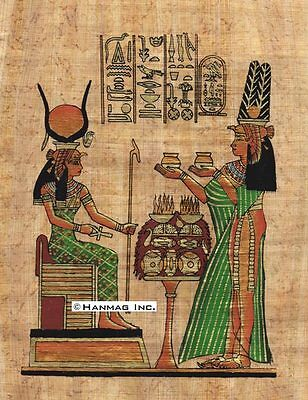 "Egyptian Papyrus Painting - Nefertary and Isis 8X12"" + Hand Painted #89"