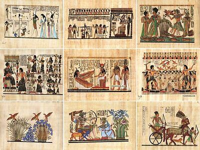 "12 Egyptian Papyrus Paintings 4X6"" + Over 100 Assorted Scenes + Hand Painted"