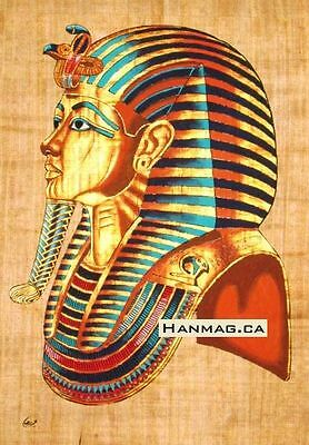 Egyptian Papyrus Painting Poster + King Tutankhamen + 16X24 Inches + Handmade #9