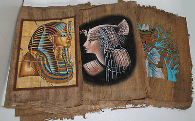 "Lot of 3 Dark Egyptian Papyrus Paintings 8X12"" Assorted Scenes + Hand Painted"