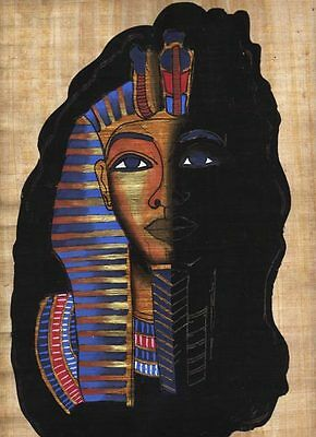 """Egyptian Papyrus Painting - King Tut's mask 8X12"""" + Hand Painted #8"""