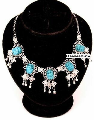 Unique Egyptian Queen's Scarab Necklace + Hand Crafted + 5 Inlaid Scarabs #263
