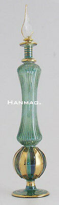 "11"" Egyptian Glass Perfume Bottle + 24K Gold #F771 GRN One of a Kind Handcrafted"