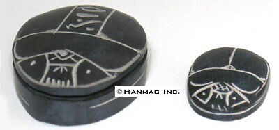 "SET of 2 Hand Carved Egyptian Basalt Stone Scarabs 1½ - 2½""  #17"